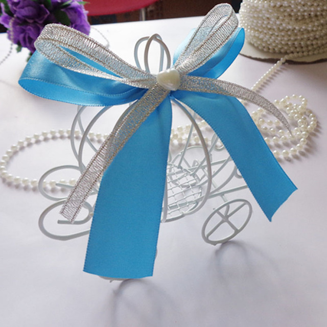 100pcs/lot White Iron Pumpkin Carriage With Ribbon Decoration ...