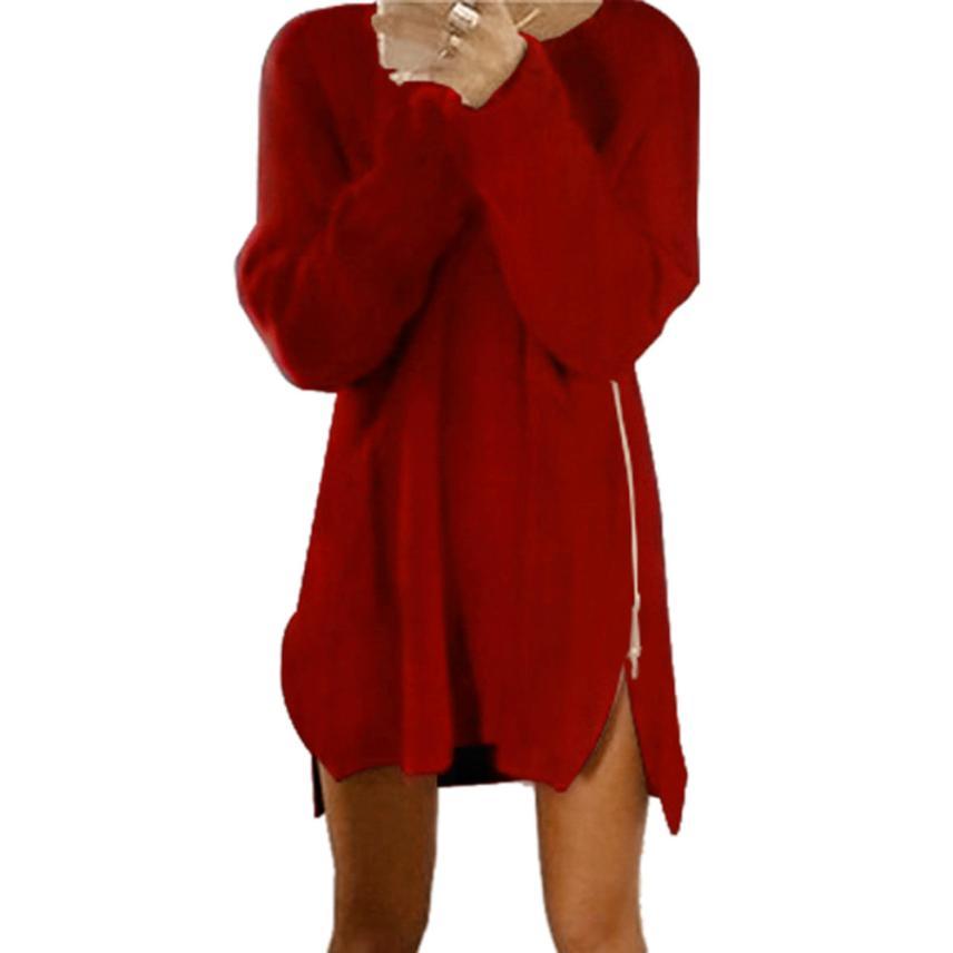 Autumn Winter Women Side Zip Knitted Cardigans Baggy Sweater Jumper Tops S Princess chiffon dress Necks Costume sleeveless meifeier 407 women s fashionable knitted chiffon blouse apricot l