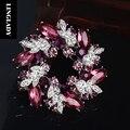 LINGLADY Cristal Flor Redonda Pinos e Broches de Cristal de Duas Cores Do Vintage Broches de Strass para as mulheres 2017 Novas Jóias BH016
