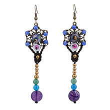 MYTHIC AGE Bohemia Hand Braided Flower Colorful Long Tassel Drop Dangle Earrings Jewelry For Women mythic age gold color ethnic chinese element cloisonne enamel leaves dangle earrings wholesale jewelry for women girls new