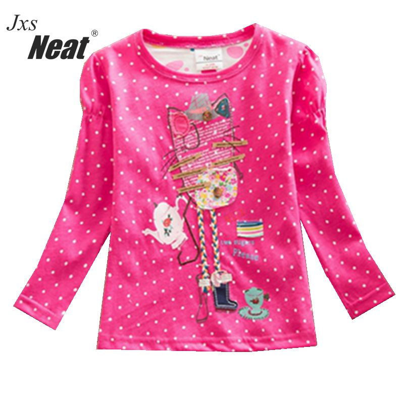 NEAT Retail 2018 Brand NOVA Baby girl clothes kids long sleeve T-shirt Embroidery flowers 100% Cotton children clothing F1411