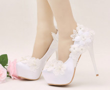 Lace bridal shoes High with fine with wedding photographs dress shoes wedding shoes