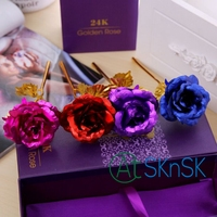 Fashion różowy Czerwony Niebieski Fioletowy sztuczne rose dekoracje ślubne złoto foliowane craft diy materiały sztuczne kwiaty z szkatułce