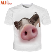 b2e231e254f2 Alisister 3d cerdo estampado divertida Camiseta gato perro camisetas  hombres mujeres verano Camisetas talla grande Camiseta