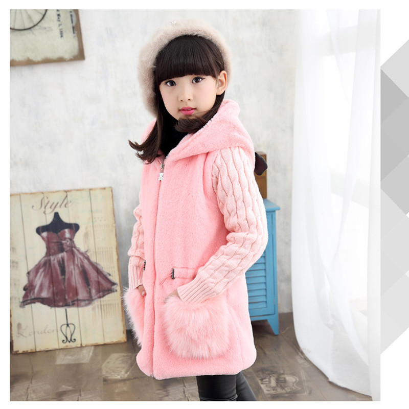 Winter Girls Coats Faux Fur Hooded Jackets Kids Clothes Children Clothing Girl Warm Jacket Thicken Outerwear Coat 4-12Y Teenager kids vest girl boy winter warm thicken vests baby down cotton coat waistcoat zipper hooded jackets for girls boys children coats