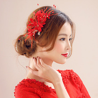 Fashion Chic Feather Hair Clip Red Crystal Fancy Fascinator Handmade Cocktail Party Wedding Veil Headpiece