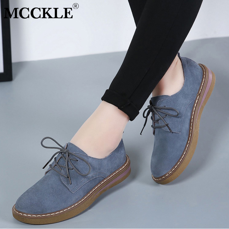 MCCKLE Women Casual Flat Platform Oxford Sneakers Female Lace Up Sewing Flock Moccasins Shoes Ladies Suede Flats Footwear цена