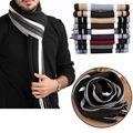 Homens inverno quente lã Artificial Scarf Tassels Scarf Longo Pashmina Xale Listrado Clássico de Alta Qualidade