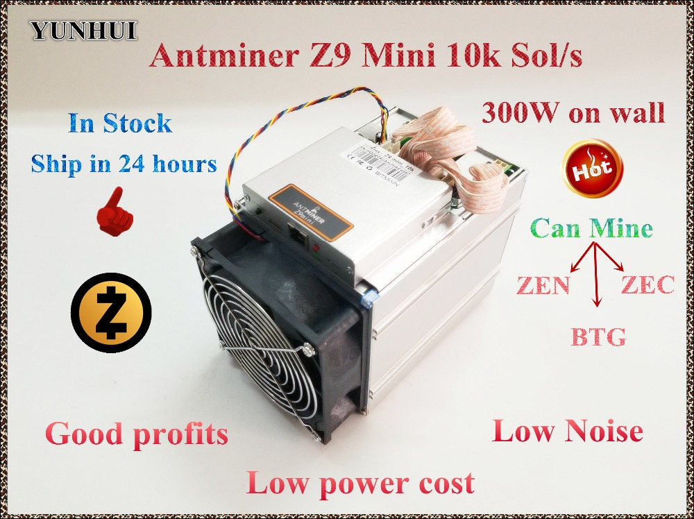 En stock YUNHUI ZCASH Miner Antminer Z9 Mini 10 k Sol/s 300 W Asic Equihash Miner Mine ZEN ZEC BTG económico que Innosilicon A9