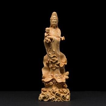 Статуя Будды CCZHIDAO из твердой древесины, 22 см, садовые украшения, ремесло, Гуаньинь, фэн-шуй, декорации буддизма