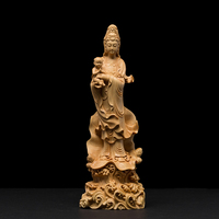 Buddha statue Goddess Quality solid wood buddha garden ornaments craft Guanyin Feng shui Decoration wood carving Buddhism decors