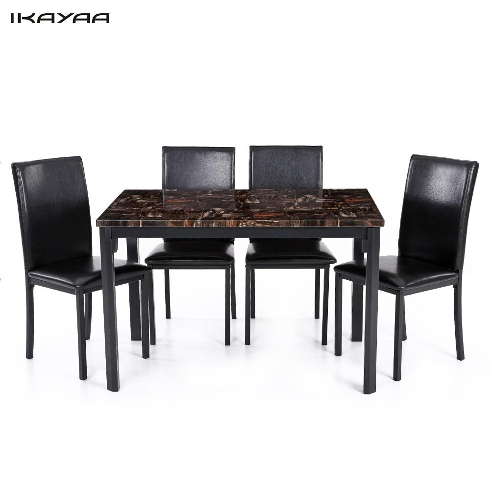 iKayaa US UK FR Stock 5PCS Modern font b Kitchen b font Furniture Dining Room Table