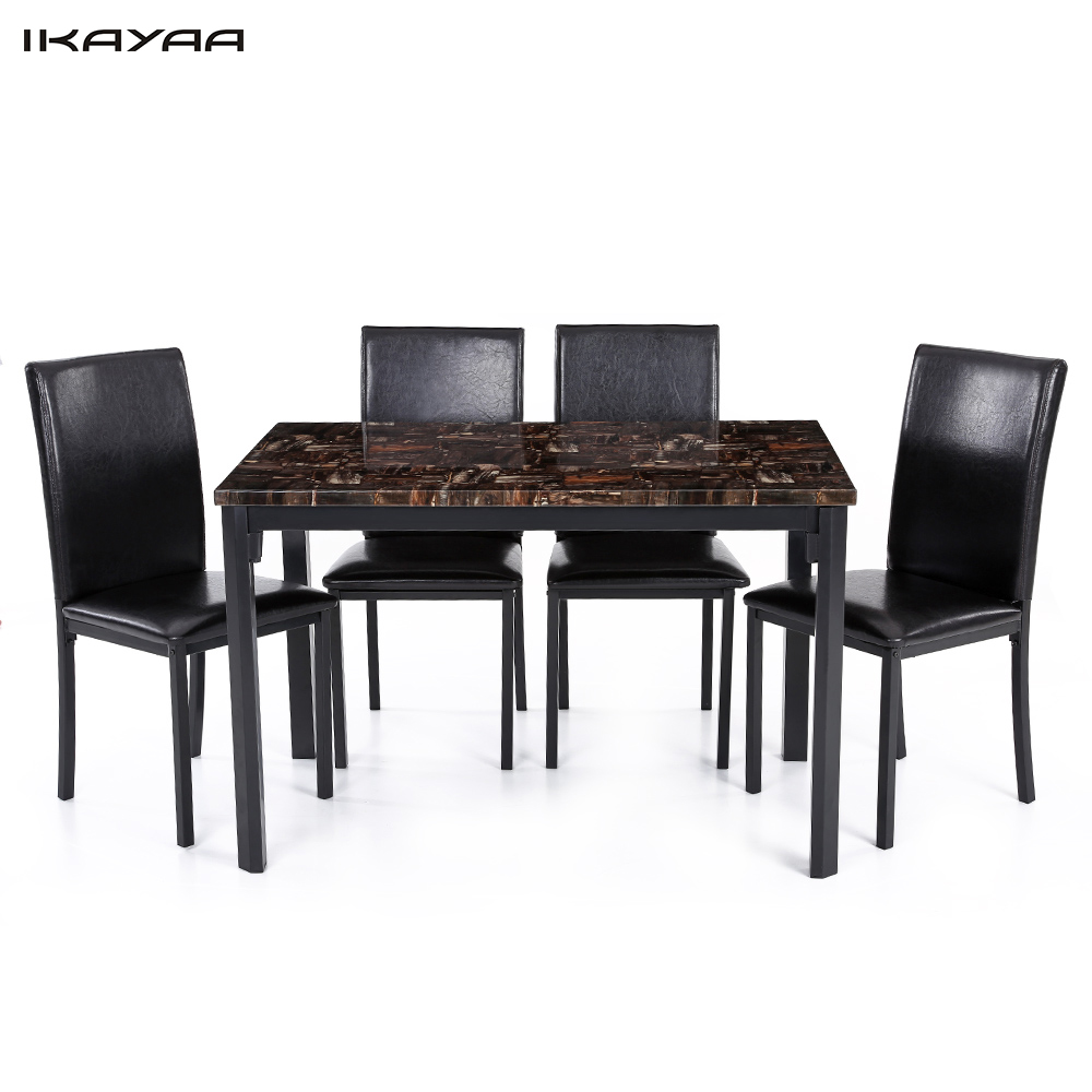 IKayaa US UK FR Stock 5PCS Modern Kitchen Furniture Dining Room Table Chair  Set For 4