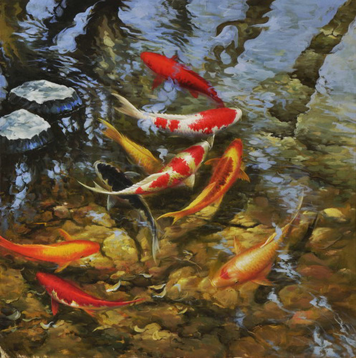 Framed on Canvas wall decor print oil painting art Feng Shui Fish Koi Painting