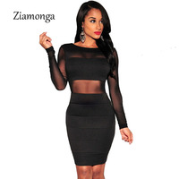 Sexy Bandage Dress New Winter Black White Dress Long Sleeve Mesh Patchwork Hollow Out Pencil Bodycon