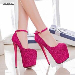 Image 3 - LLXF zapatos Plus: 34 41 42 43 veste Locale Notturno Sexy 19 centimetri scarpe col tacco alto paillette Scarpe donna Tacco A Spillo femminile Fibbia Pompe