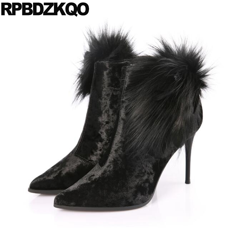 dc1082376ac8 Booties Mink Winter Stiletto Shoes Big Brand Velvet Green High Heel 9 Ankle  Pointed Toe Fur Women Boots 2017 Suede Size Short