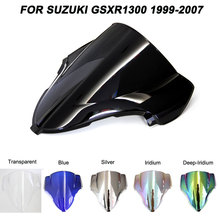 Black Motorcycle Motorbike Windshield Double Bubble Windscreen Wind Deflectors For Suzuki Hayabusa GSXR1300 GSXR 1300 1999-2007 aspesi платье до колена