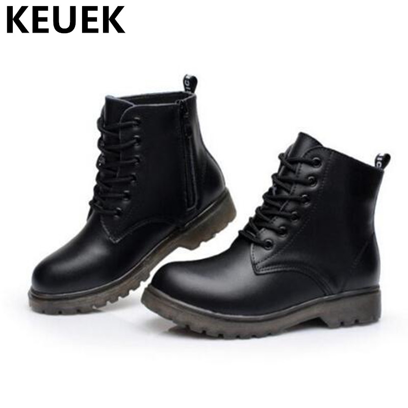 NEW Autumn/Winter Genuine Leather Boots Children Shoes Kids Ankle Boots Boys Girls Warm Snow Boots Lace-Up Leather Shoes 044 2016 new fashion children martin boots girls boys winter shoes kids rain boots pu leather kids sneakers waterproof anti skid