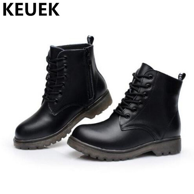 NEW Autumn Winter Genuine Leather Boots Children Shoes Kids Ankle Boots  Boys Girls Warm Snow Boots Lace-Up Leather Shoes 044 b9881b5679ec