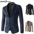 Men's Blazer Suede Fabric Slim fit Male Solid Suits Single Breasted Business Autumn Jackets blazer masculino mens blazer jacket