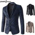 Tecido de Camurça Blazer Slim fit Masculino Sólida dos homens Ternos de Negócio Único Breasted Outono Jaquetas jaqueta blazer masculino blazer dos homens