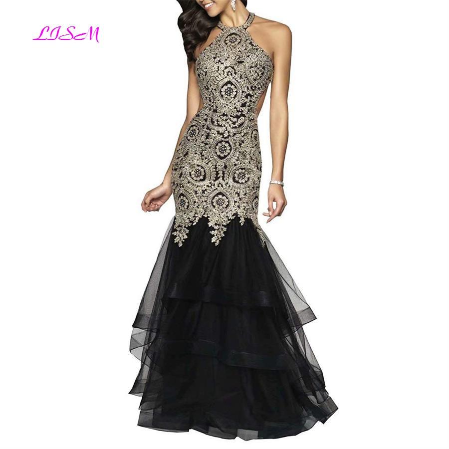 Gold Appliques Mermaid Prom Dress for Graduation Sexy Halter Evening Dresses Backless Long Formal Gowns vestidos de festa longo