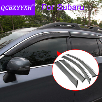 QCBXYYXH Car Styling 4pcs/lot Window Visors For Subaru XV Forester Outback Legacy Wagon Sun Rain Shield Stickers Covers