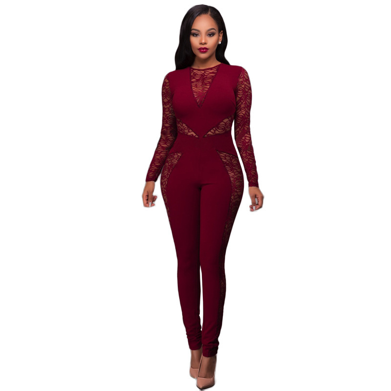 037ad8986958 Dropwow Long Sleeve Black Lace Jumpsuit Women Sexy See Through Mesh ...