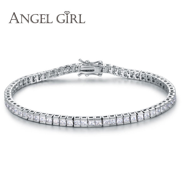 Angel Girl AAA Elegant Square 4mm CZ Tennis Bracelets for Woman