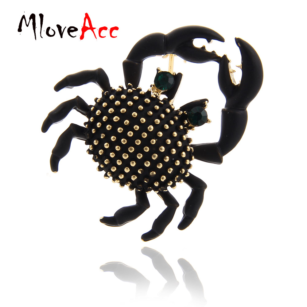 MloveAcc Cute Crabs Brooch Enamel Animal Corsage Pins Kids Women Shirt Coat Clips Black Brooches Clothes Accessories Jewelry