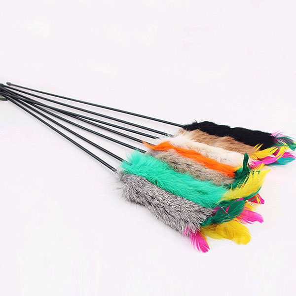Kitten cony hair toy toy cat feather bell wand teaser for Diy cat teaser wand