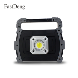 LED Portable Spotlight COB 20W LED Lantern For Camping Emergency Search Light Projector LED Rechargeable Work Lamp use 18650 AA