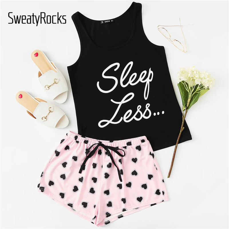 SweatyRocks Letter Print Top & Drawstring Waist Shorts PJ   Set   Kawaii Sleeveless   Pajamas   For Women Summer Stretchy   Pajama     Sets