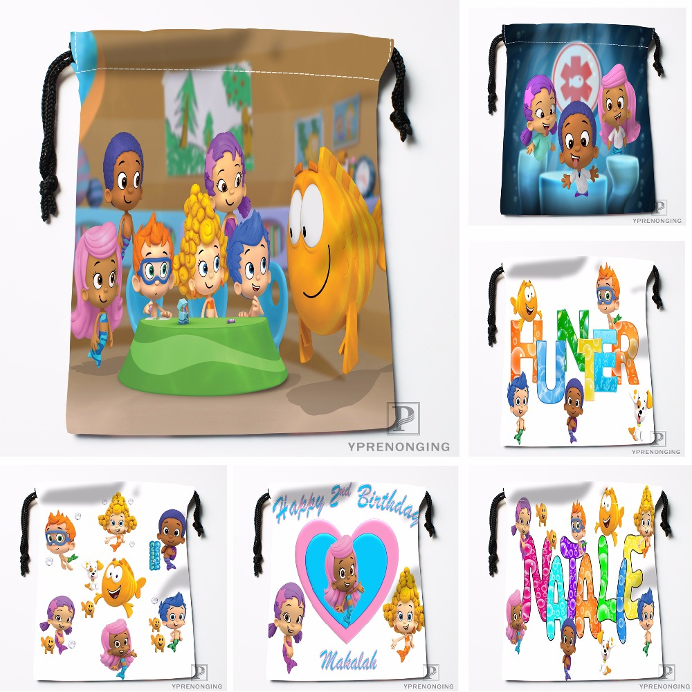 Custom Bubble Guppies Drawstring Bags Travel Storage Mini Pouch Swim Hiking Toy Bag Size 18x22cm#0412-03-06