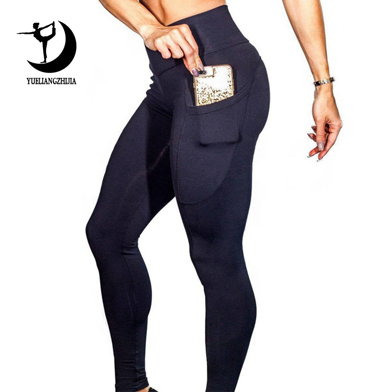 2019 Women Brand New Sports Leggings For Fitness High Waist Outdoor Legging With Pocket Tummy Control Sports Pants Girl 01025
