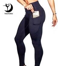 2019 de las mujeres de la marca deportes nuevos Leggings para alta cintura Leggings para exteriores con bolsillo de Control de la panza Pantalones deportivos niña 01025
