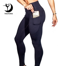 2019 femmes tout nouveau sport Leggings pour Fitness taille haute en plein air Legging avec poche ventre contrôle sport pantalon fille 01025