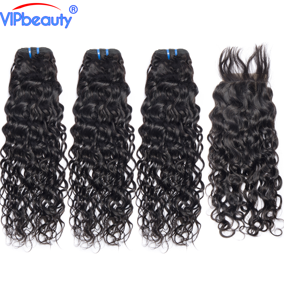 Indian Water Wave Human Hair 3 Bundles with Closure Non Remy Hair Extensions Vip Beauty Indian Hair Bundles with Closure 1B