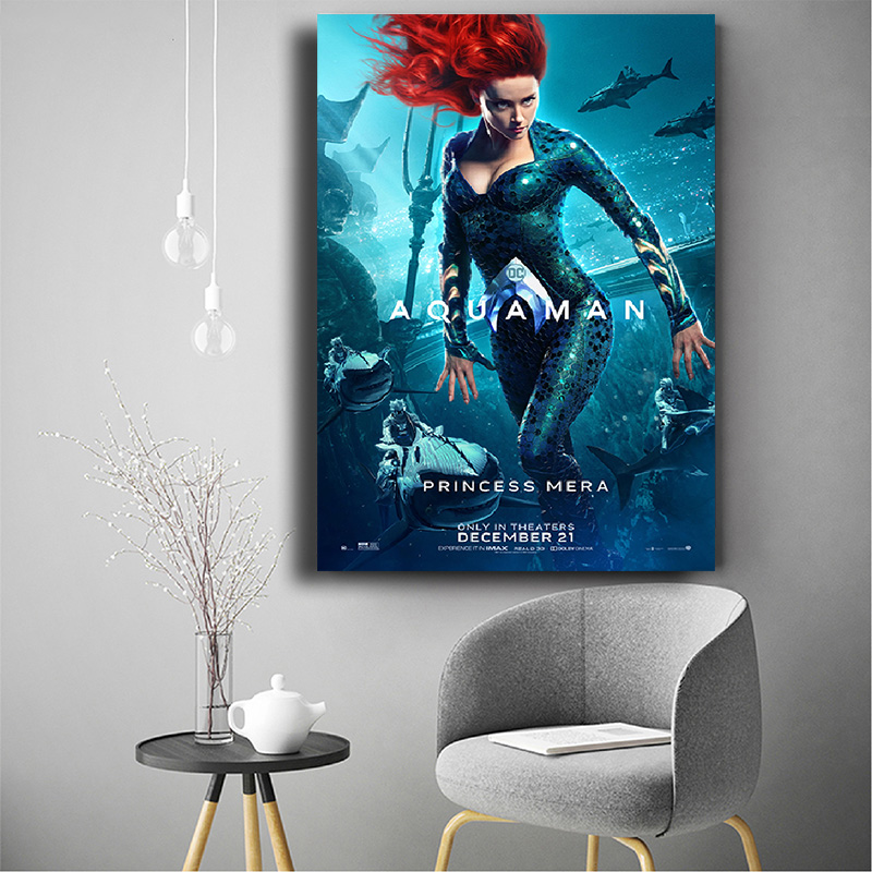 Aquaman Movie Poster Jason Momoa Superhero Movie Silk Poster Wall Art Print Decoration Pictures Wallpaper Living Room Decor in Painting Calligraphy from Home Garden
