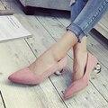 2016 Nuevo Otoño del Resorte Mujeres de los altos talones mujeres de La Manera de Gamuza Estilo Extraño zapatos de tacón Bombas mujer
