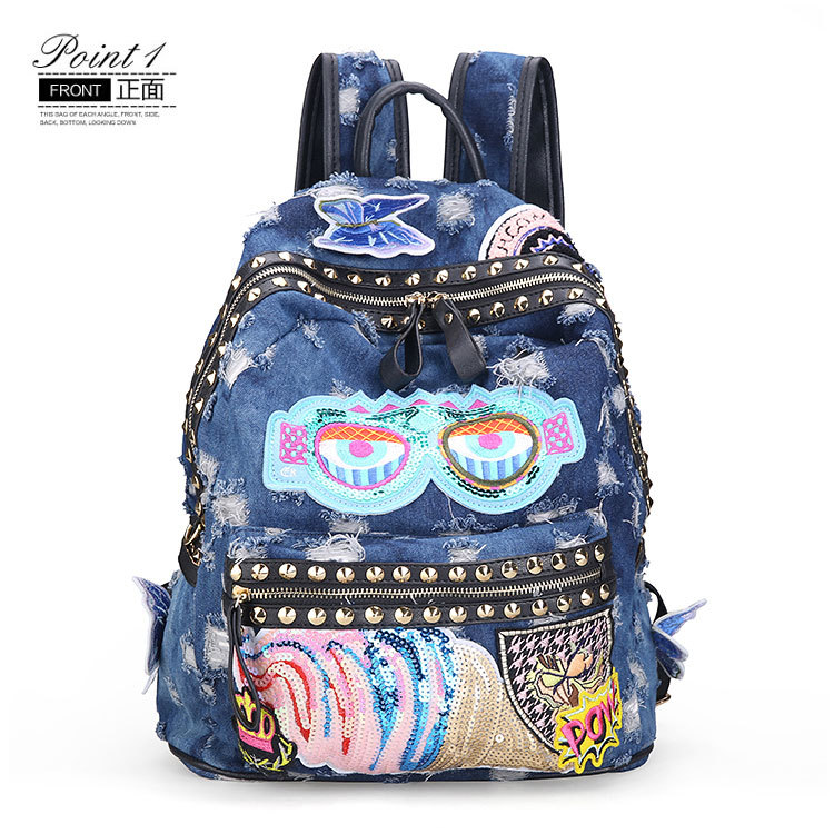 Hot Sale Creative Women Denim Backpack Fashion Checkered Embroidery Flower Korean Version Casual Shoulder Bags