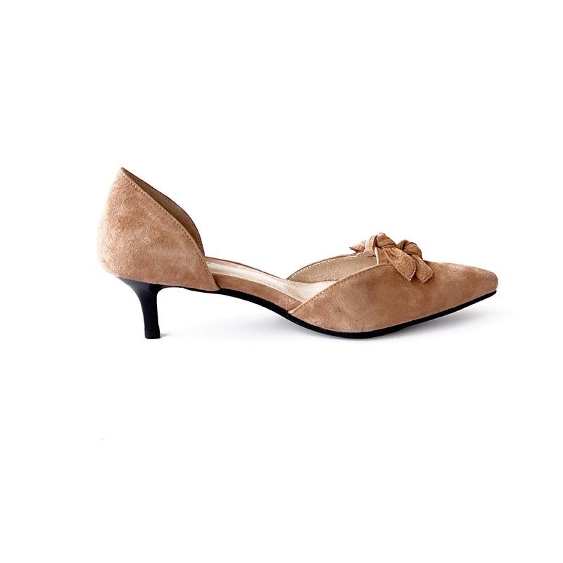 Del red Pie Bombea De talón Suede Vintage beige Genuino Punta Cuero Zapatos D'orsay Medio Brown Los Dedo 4IwnZAfxFq