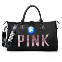 Big Capacity Women Men Sport Bag Designer Metal Sequins PINK Letters Gym Fitness Sports Bag Handbag Shoulder Yoga Bag For Female