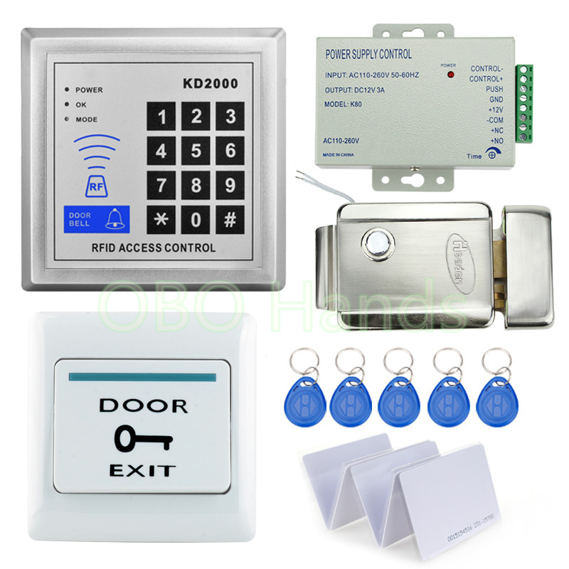 Free shipping 3000Users Full Door Lock Access Control System Kit Set with Keypad+Electric Lock+Power supply+Exit button+10 keys rfid door access control system kit set with electric lock power supply doorbell door exit button 10 keys id card reader keypad