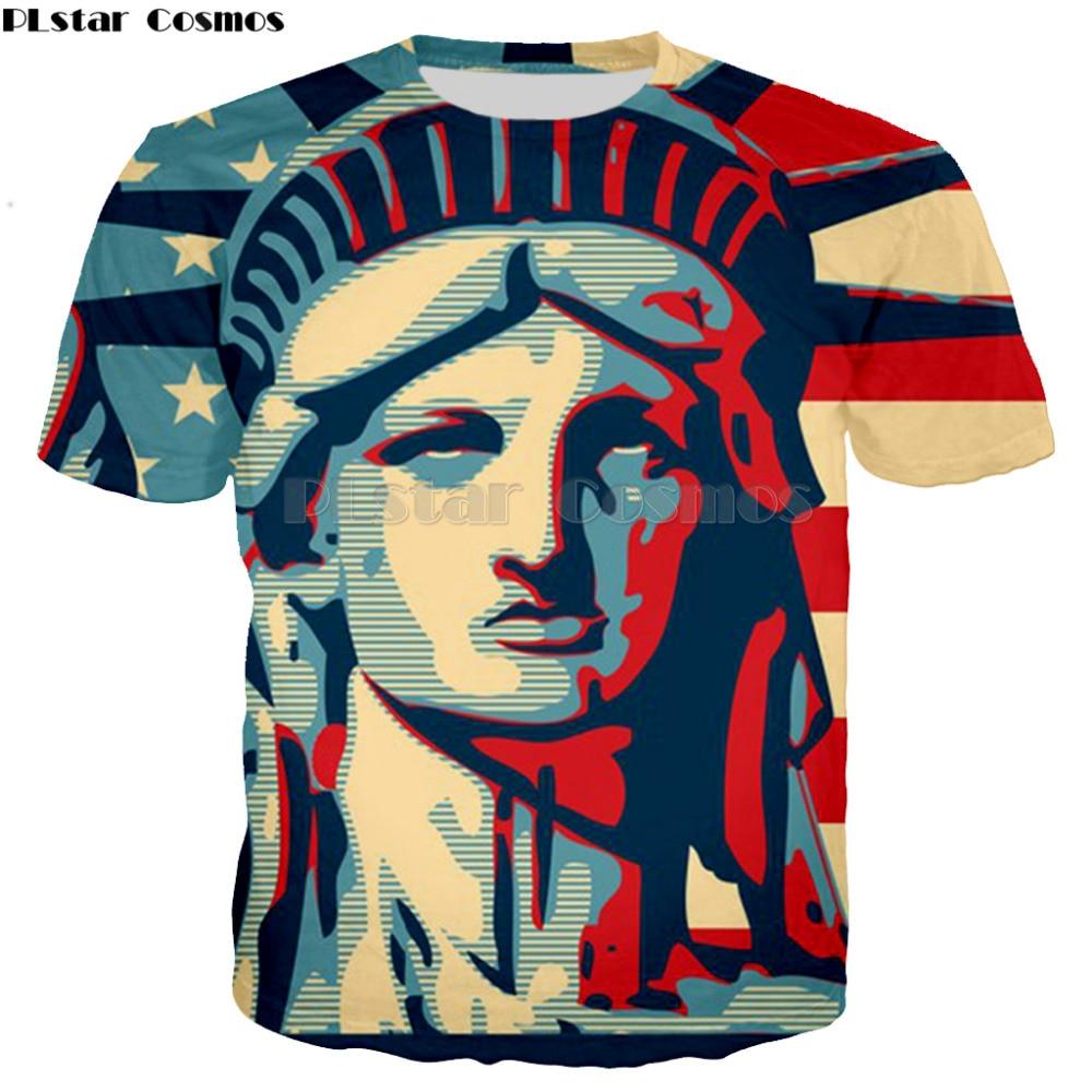 Fashion New 3D USA Statue Of Liberty T Shirts Creative Men women Short Sleeve Summer Tops Tees Brand  Streetwear Plus Size