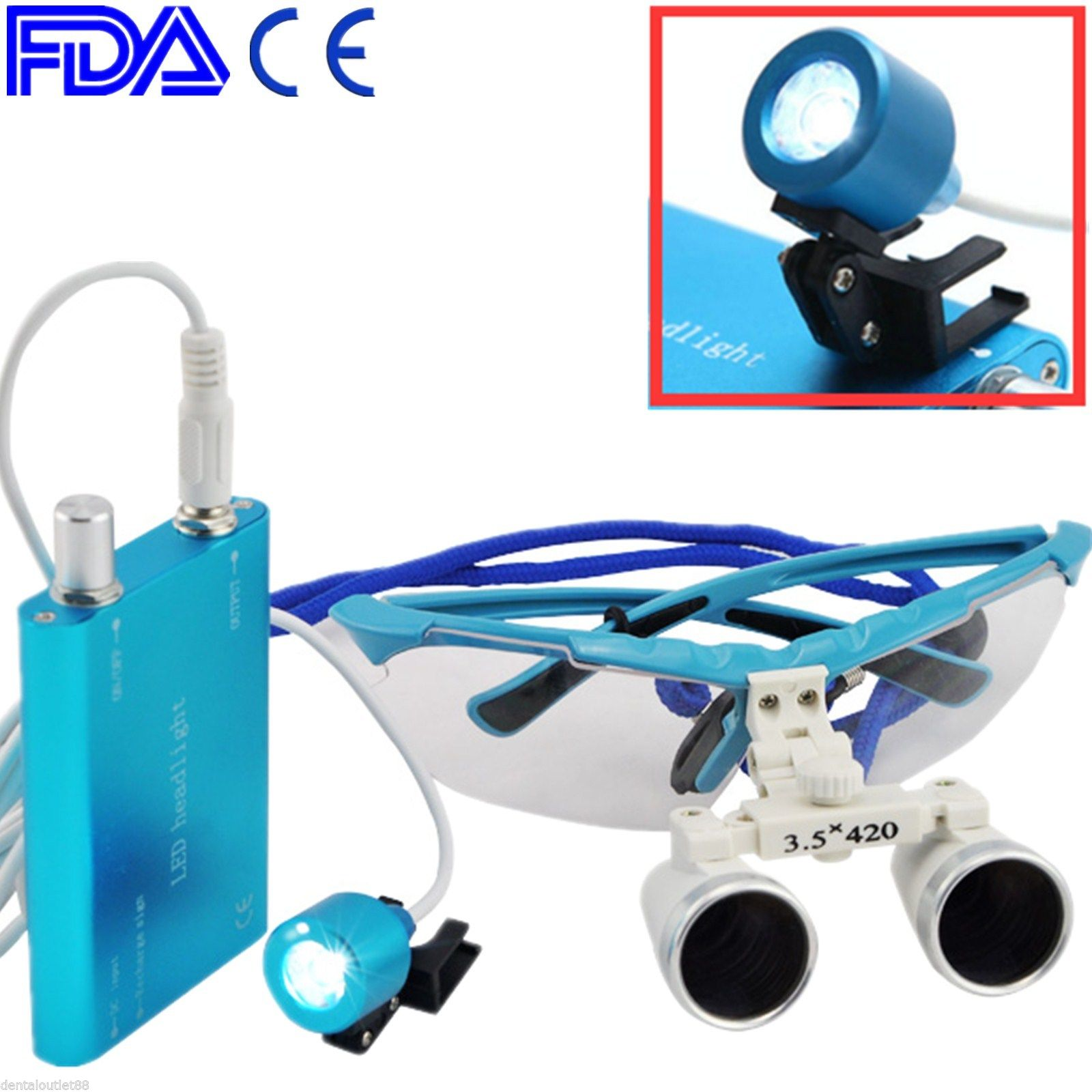 100% High Quality Dental Surgical Binocular Loupe 3.5X 420mm LED Head Light Lamp-BLUE 2017 blue high quality magnification 2 5x dental loupe with portable led headlight lamp 188044 uc