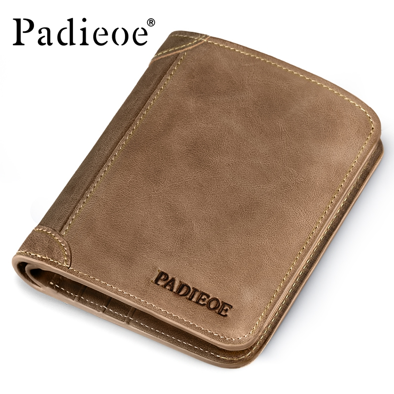 Padieoe Brand Top Cow Genuine Leather Wallets for Men Casual Male Wallets Vintage Organizer Purse Billfold Zipper Coin Pocket padieoe luxury brand men wallets genuine leather male business oil cow leather trifold purse