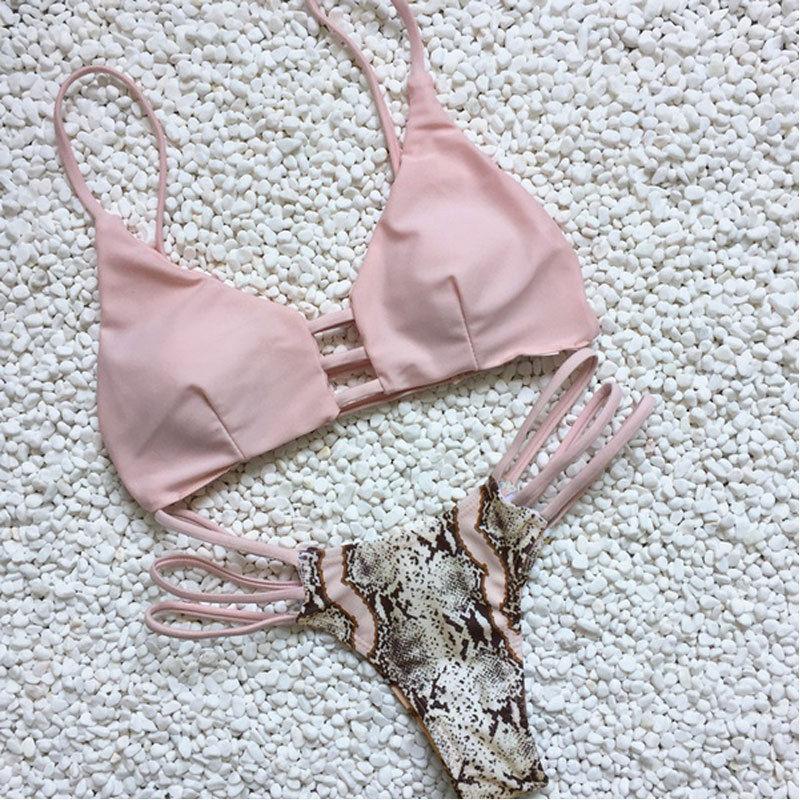 2017 Frauen Sexy Aushöhlen Bikini Set Bademode Bandage Push-up Gepolsterter Badeanzug Badestrand Wohltuend FüR Das Sperma