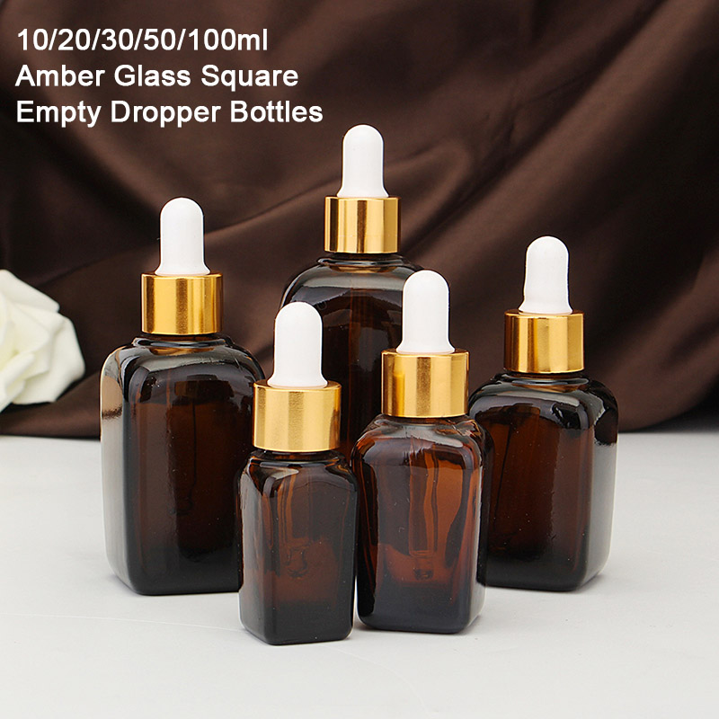 5PCS Empty Glass Aromatherapy Bottle Containers Square Amber Essential Oils Bottle With Eye Dropper Gold Cap 10/20/30/50/100ml